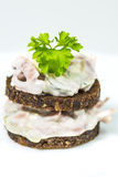 Pumpernickel with meat salad Royalty Free Stock Photo