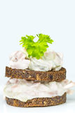 Pumpernickel with meat salad Stock Photography