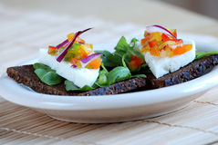 Pumpernickel sandwich Stock Photo