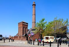 The Pumphouse, Liverpool. View of the Victorian Pumphouse at Albert Dock with an ice cream van in the foreground, Liverpool, Merseyside, England, UK, Western Stock Photo
