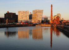 The Pumphouse seen across Albert Dock, Liverpool. View across part of the Albert Dock area in Liverpool, Merseyside looking towards the Pumphouse and other more Stock Photos