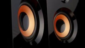 Pumping bass speaker. Closeup stock video footage
