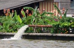 Pumping of flood water in Bangkok, Thailand Royalty Free Stock Photos