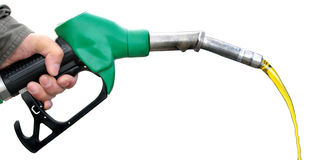 Pumping fuel on white background Stock Photos