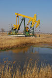 Pumping  oil. Pumping machines in oil field Stock Image