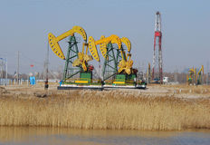 Pumping oil. A producing oil well in daqing oilfield Stock Images