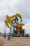 Pumping oil. An oil pump jack in northeast  china Royalty Free Stock Photography