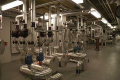 Pumping room with equipment in a residential area Royalty Free Stock Photos