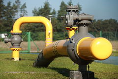 Pumping station. High pressure valve on gas wellhead Stock Images