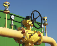 Pumping station. High pressure valve on gas wellhead Stock Photography