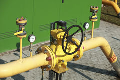 Pumping station. High pressure valve on gas wellhead Royalty Free Stock Photo