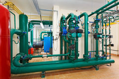Pumping station in industrial, gas boiler house Royalty Free Stock Photos
