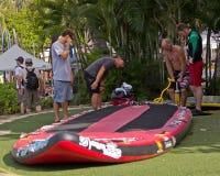 Pumping SUP Paddleboard Royalty Free Stock Images