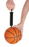 Pumping up basketball royalty free stock images