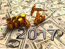 Pumpjack d'or et huile renversée sur l'argent 3d rendent Image stock