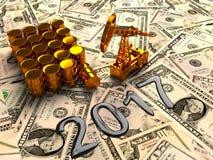 Pumpjack d'or et huile renversée sur l'argent 3d rendent Photographie stock