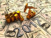 Pumpjack de oro y aceite derramado en el dinero 3d rinden Imagen de archivo libre de regalías