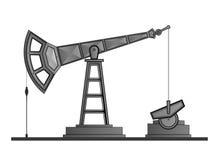 Pumpjack della pompa di olio di vettore isolato su fondo bianco royalty illustrazione gratis