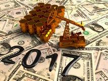 Pumpjack dorato ed olio rovesciato sui soldi 3d rendono Immagine Stock