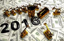 Pumpjack dourado e óleo derramado no dinheiro Imagem de Stock