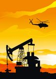 Pumpjack and helicopter. Vector background of pumpjack and helicopter silhouettes on orange sky Stock Photography
