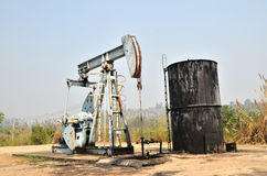 Pumpjack pumping crude oil from oil well Royalty Free Stock Images