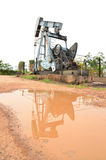 Pumpjack pumping crude oil from oil well Stock Photos