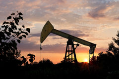 Pumpjack pumps oil at summer sunset Stock Photos