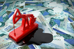 Pumpjack And Spilled Oil On Iranian Rials. Stock Images