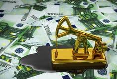 Pumpjack And Spilled Oil Over Euros. 3D Illustration Stock Images