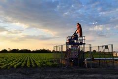 Pumpjack und landwirtschaftliches Feld während der Dämmerungszeit Stockfotos