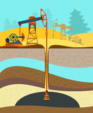 Pumpjack, Working Oil Pumps and Drilling Rig, Oil Pump, Petroleum Industry poster Royalty Free Stock Photo