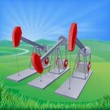 Pumpjacks de puits de pétrole Images libres de droits