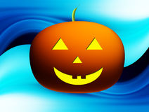 Pumpkin. Orange and yellow pumpkin over blue background Royalty Free Stock Images