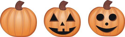 Pumpkin. 3 pumpkins perfect for halloween stock illustration