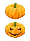 Pumpkin. Ripe  pumpkin plus Halloween jack-o-lantern variant Stock Photos