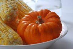 Pumpkin. Corn maize on plate Stock Photos