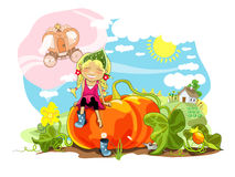 Pumpkin. Funny girl sitting on big pumpkin, rural landscape Royalty Free Stock Photos