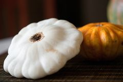 Pumpkin. Healthy vegetable on wooden table royalty free stock photography