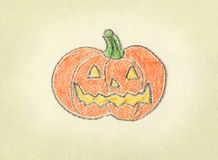 Pumpkin. A pumpkin drawn with crayon over textured paper Royalty Free Stock Photo