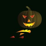 Pumpkin. Halloween background - pumpkin with light of candle - vector illustration Royalty Free Stock Photos