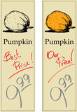 Pumpkin. Two Price Tags with Vintage Effect Stock Photos