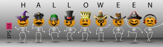 Pumpkin abstract skeletons in different hats for Halloween Stock Photography