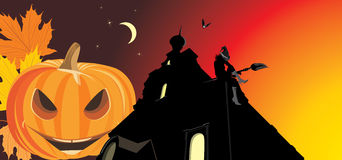 Pumpkin And Night Castle. Halloween Banner Royalty Free Stock Photos