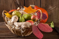 Pumpkin apfel basket Stock Photos