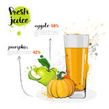 Pumpkin Apple Mix Cocktail Of Fresh Juice Hand Drawn Watercolor Glass On White Background Royalty Free Stock Photo
