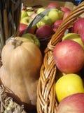 Pumpkin and apples Stock Photos