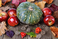 Pumpkin and apples in fall still life Stock Images