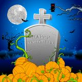 Pumpkin around Tomb Stone Stock Photography