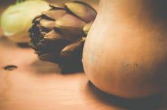 pumpkin artichoke and cabbage turnip still life Stock Image